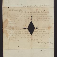 Letter, Major Felix Dominy, East Hampton, to Dr. Scudder, American Museum, 1831