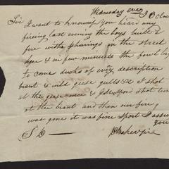 Letter from D. Baker, 1818