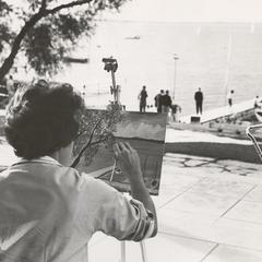 Artist painting on Terrace