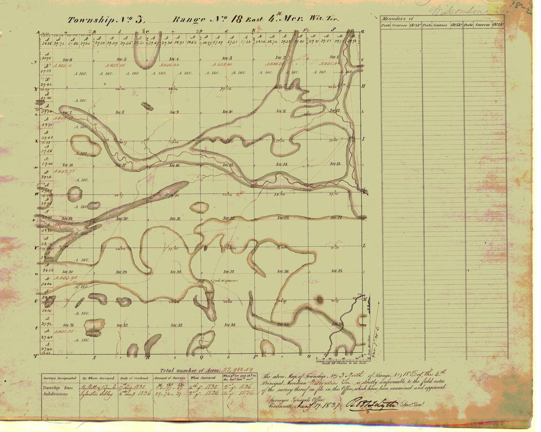 [Public Land Survey System map: Wisconsin Township 03 North, Range 18 East]