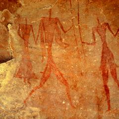 Petroglyph : Three Thin Human Figures With Staffs