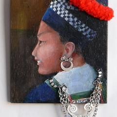 Hmong portrait on wood