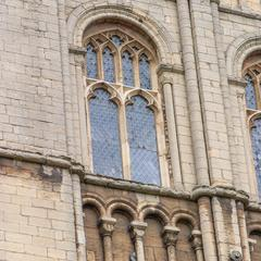 Peterborough Cathedral south transept clerestory window with blind arcades above and below