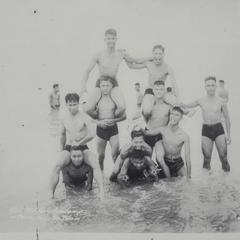 Cadets forming a pyramid at the beach, San Fernando