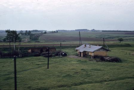 Russian countryside and farmhouse