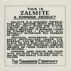 Simmons advertisement for Zalmite durable tabletops