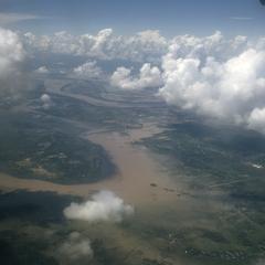 Aerial view of Mekong flood