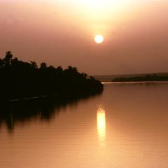 Sunset from a Cruise Ship Going Up the River Gambia