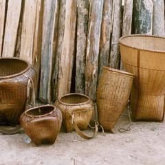 Display of various Khmu' baskets made in Houa Khong Province