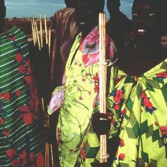 Young Nuer Men with Mock Spears Awaiting Initiation
