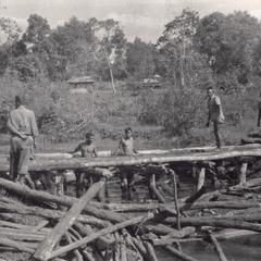 Villagers construct a bridge using timbers cut locally in Attapu Province