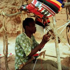 Hausa Weaver Measuring Warp Threads for His Loom