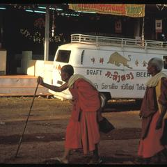 Monks and liquor stands