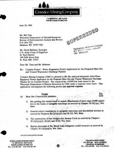 Water regulatory permit application for the Crandon Project proposed mine site and treated wastewater discharge pipeline : 93C049
