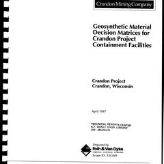 Geosynthetic material decision matrices for Crandon Project containment facilities : scope ID 93C049