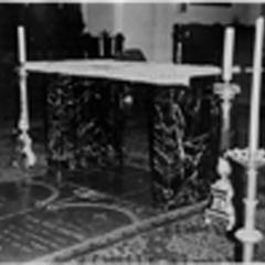 Altar made from communion rail donated by the children of John B. Rose and Adele VandenPlas
