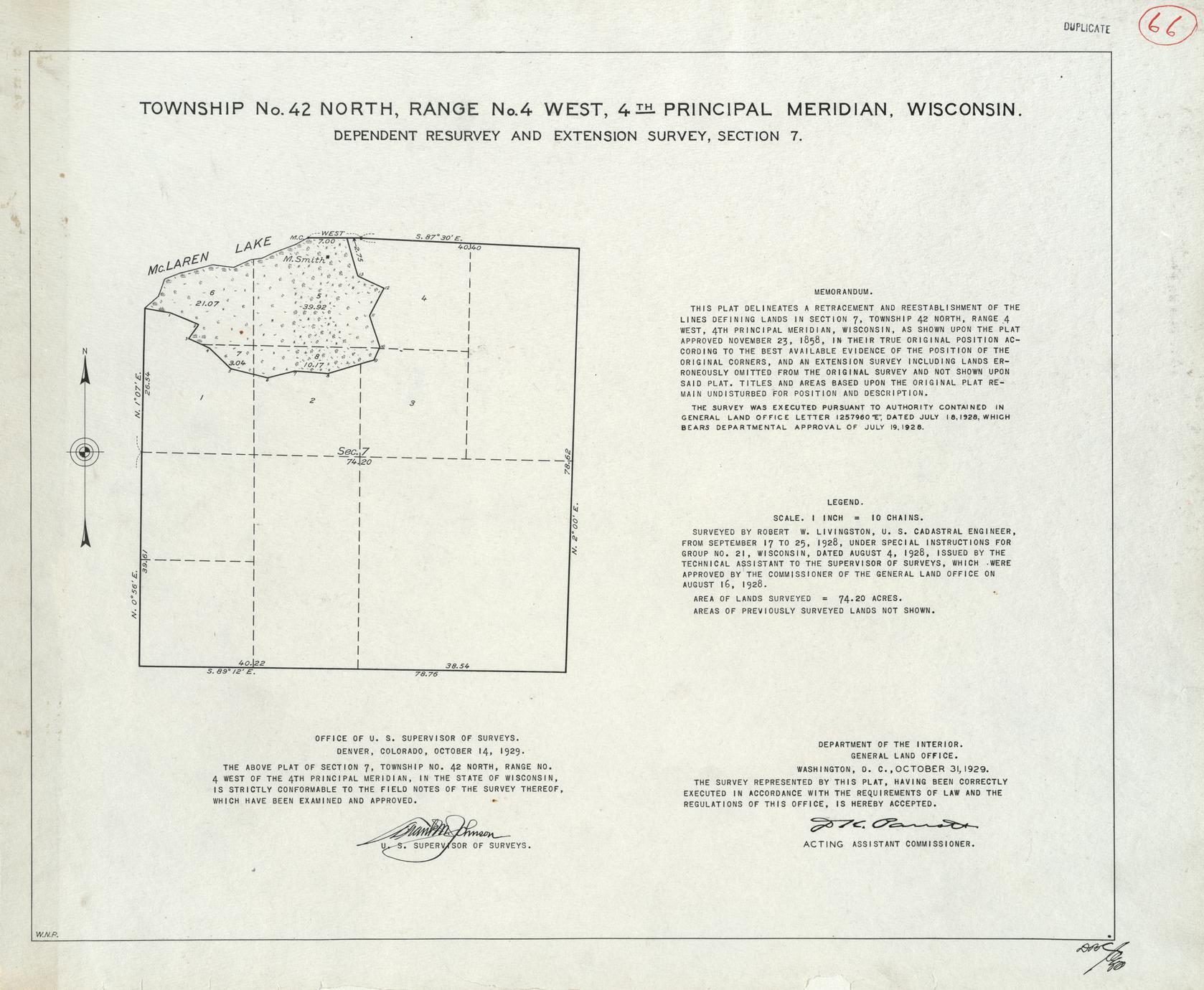 [Public Land Survey System map: Wisconsin Township 42 North, Range 04 West]