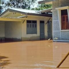 Flooded breezeway, Robert Wofford's Nongduang residence