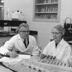 O. N. and Ethel Allen in laboratory