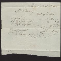Bill and receipt from A. Mathey to Felix Dominy, 1830
