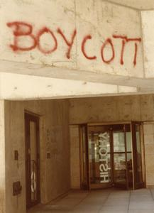 """Boycott"" graffiti in front of History Department entrance"