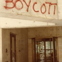 """""""Boycott"""" graffiti in front of History Department entrance"""