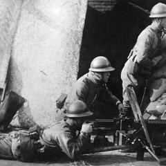 Japanese soldiers in position.