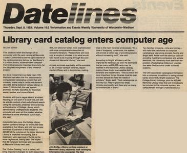 'Library Card Catalog Enters Computer Age' Datelines article