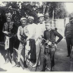 U.S. military officials with Moro Dattos, Mindanao, 1901-1902