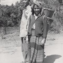 Nyaheun village headman and his wife pose for a photograph in Attapu Province