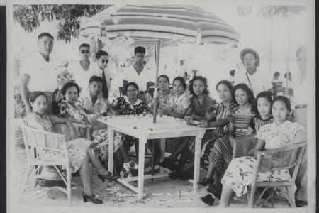 Cadets and women at a picnic, La Union