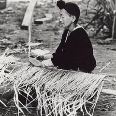 A White Hmong woman weaves thatch in a village in Houa Khong Province