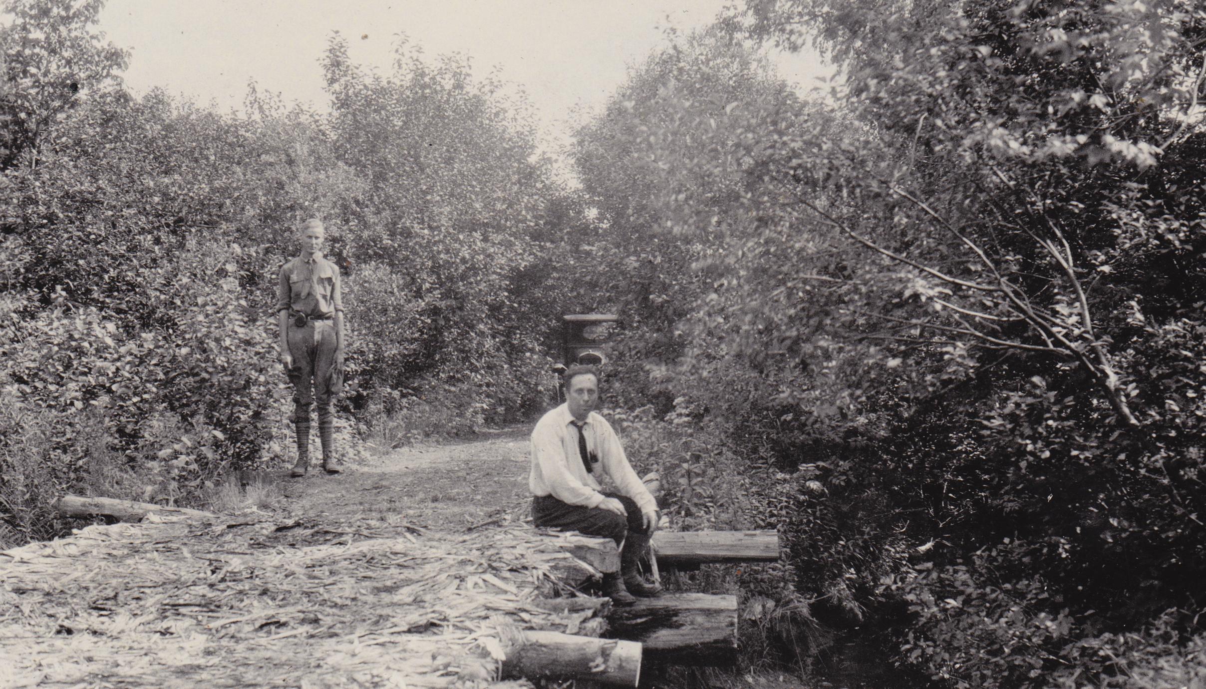 Durand and Thwaites at old logging bridge