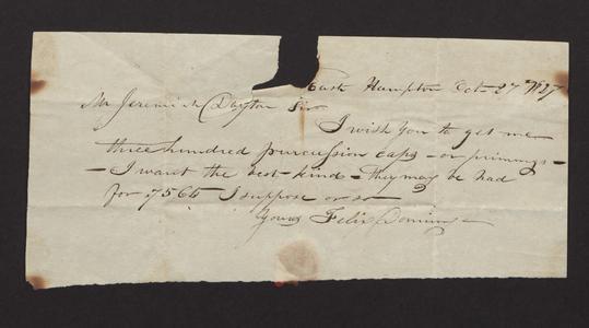 Order sent to Jeremiah Dayton