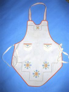 White cotton bib apron with flowers