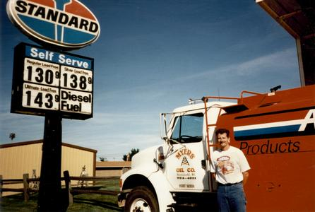 Jimmy Myers and a Myers Oil delivery truck