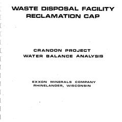 Waste disposal facility reclamation cap : Crandon Project water balance analysis