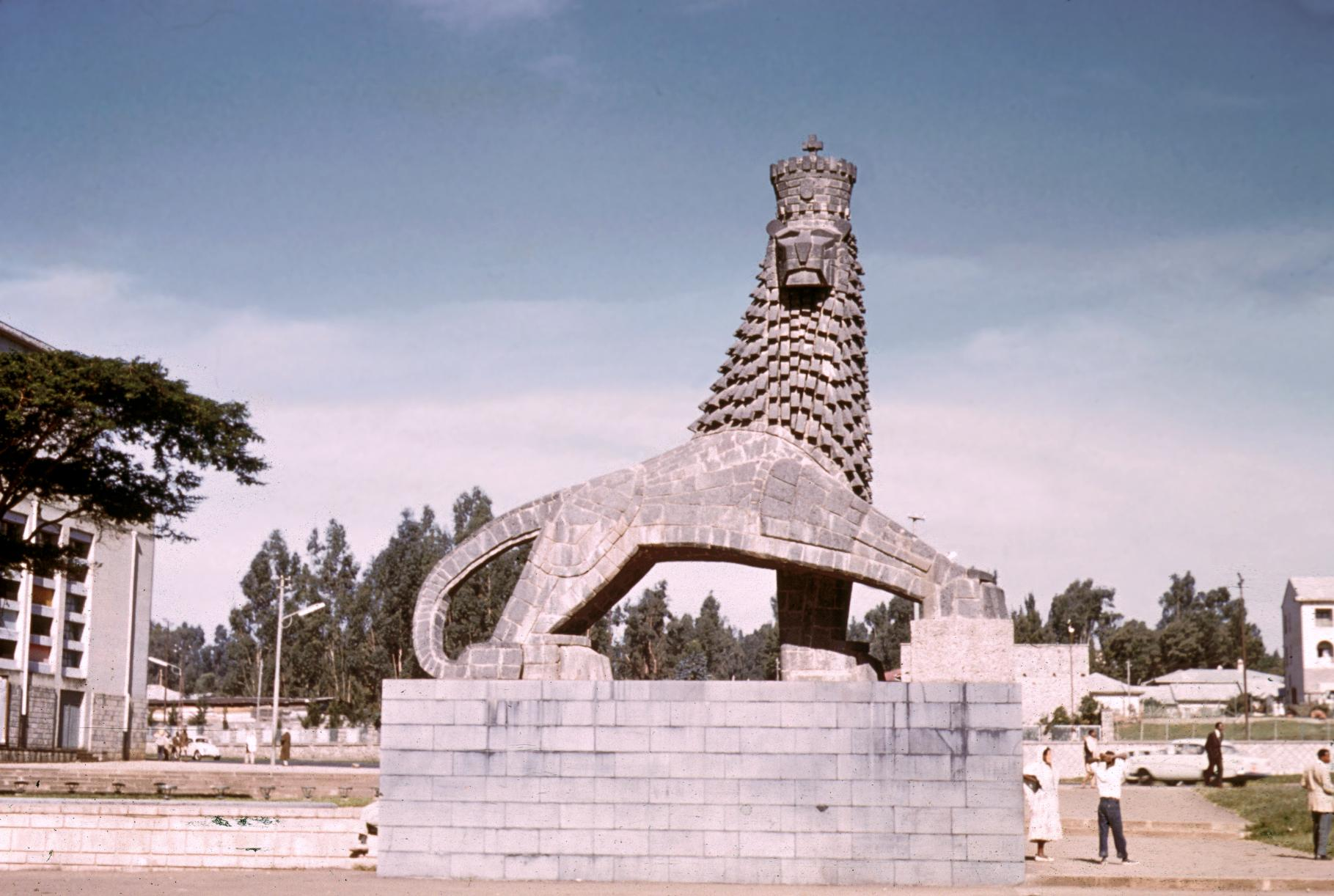 Lion Sculpture Outside Haile Selassie Theater