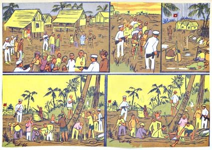 Propaganda leaflets showing villagers forced to labor for the Pathet Lao