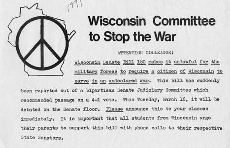 Wisconsin Committee to Stop the War flier