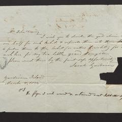 Note from Sarah Gardiner to Mr. Felix Dominy, 1834