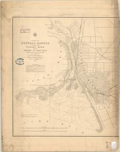 Chart of Buffalo Harbor and head of Niagara River with the outlet of Lake Erie