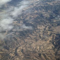 Topography and vegetation, west of Guatemala City, viewed from a jet plane.