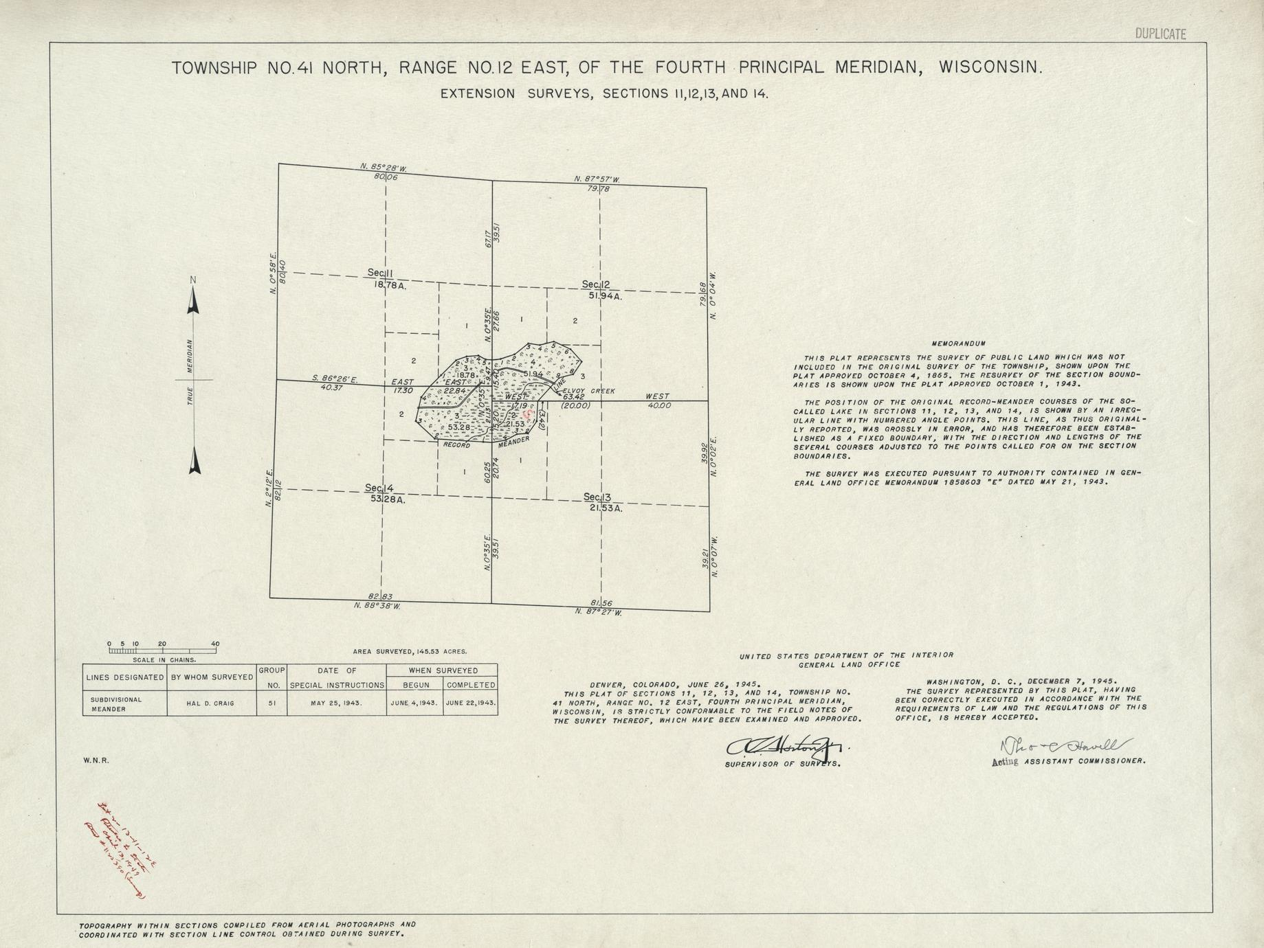 [Public Land Survey System map: Wisconsin Township 41 North, Range 12 East]