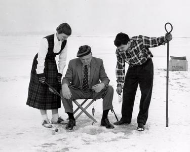 President Fred goes ice fishing