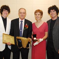 John Harrington family receiving an award, University of Wisconsin--Marshfield/Wood County, 2008