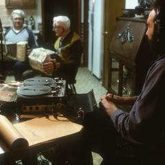 Irving and Robert DeWitz play concertina as Jim Leary records