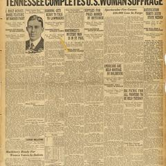 'Tennessee completes U.S. woman suffrage,' Fargo Forum headline