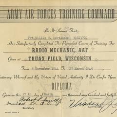 Diploma : Radio Mechanic, AAF given at Truax Field, Wisconsin