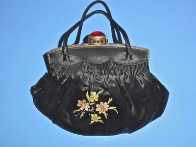 Black silk bag with tambour embroidery
